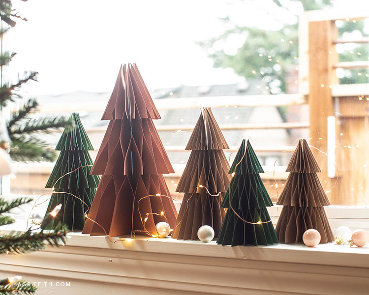 handmade frosted paper honeycomb trees for Christmas