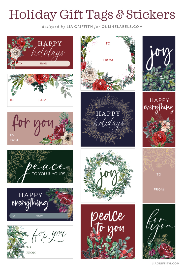 Holiday gift tags and stickers by Lia Griffith for Online Labels