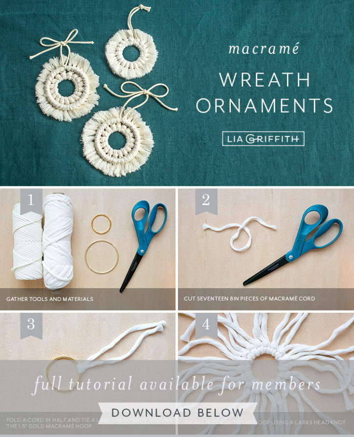 Photo tutorial for macrame wreath ornaments by Lia Griffith