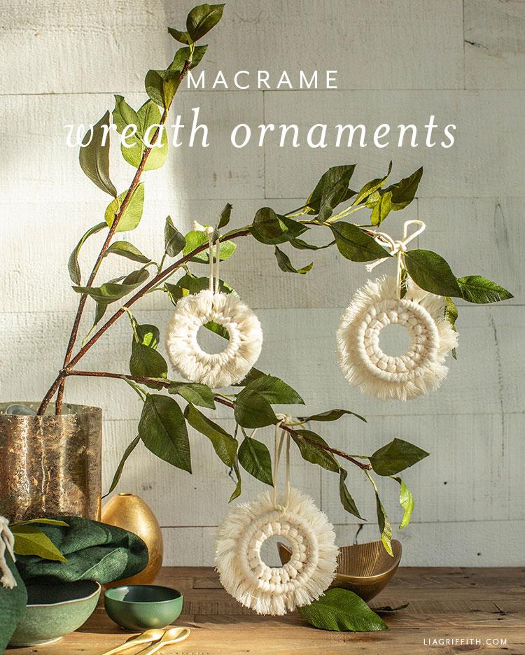 macrame wreath ornaments
