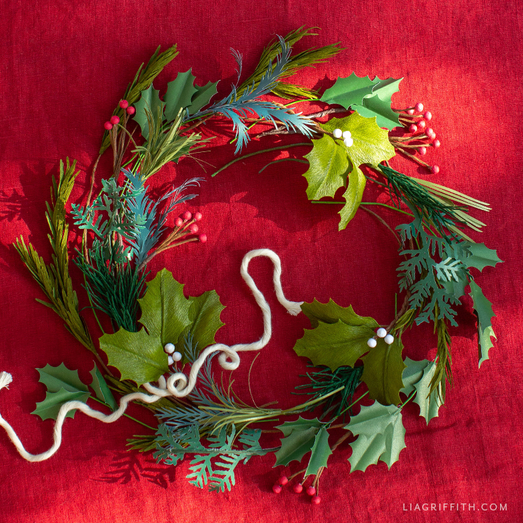 DIY Christmas wreath with winter greenery