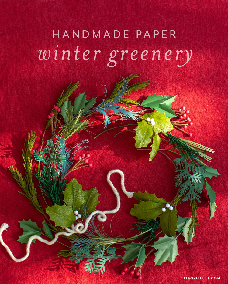 handmade paper winter greenery