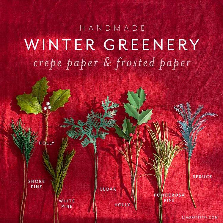handmade winter greenery including pine, holly, cedar, and spruce