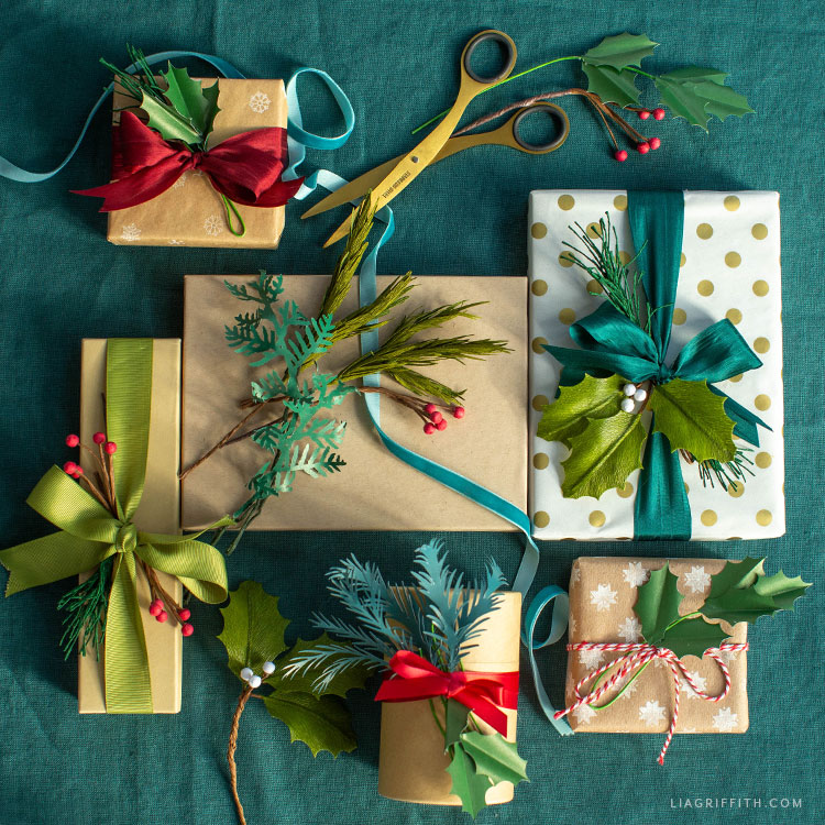 DIY holiday greenery for gift toppers