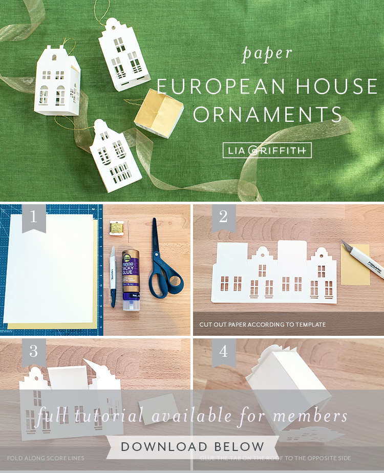 photo tutorial for paper European house ornaments by Lia Griffith