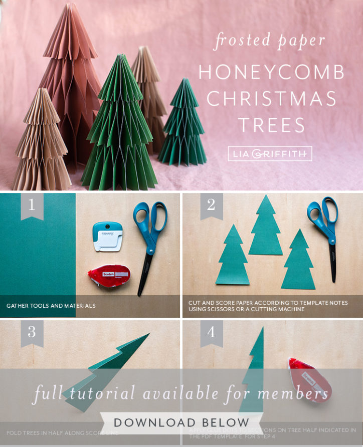 Photo tutorial for frosted paper honeycomb Christmas trees by Lia Griffith
