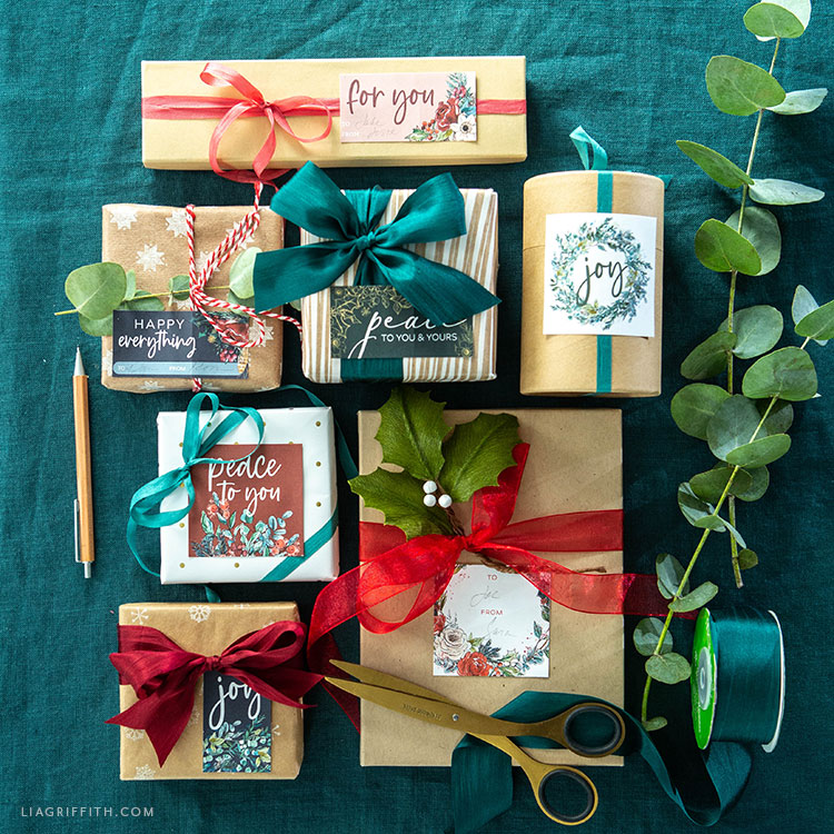 holiday labels and gift tags