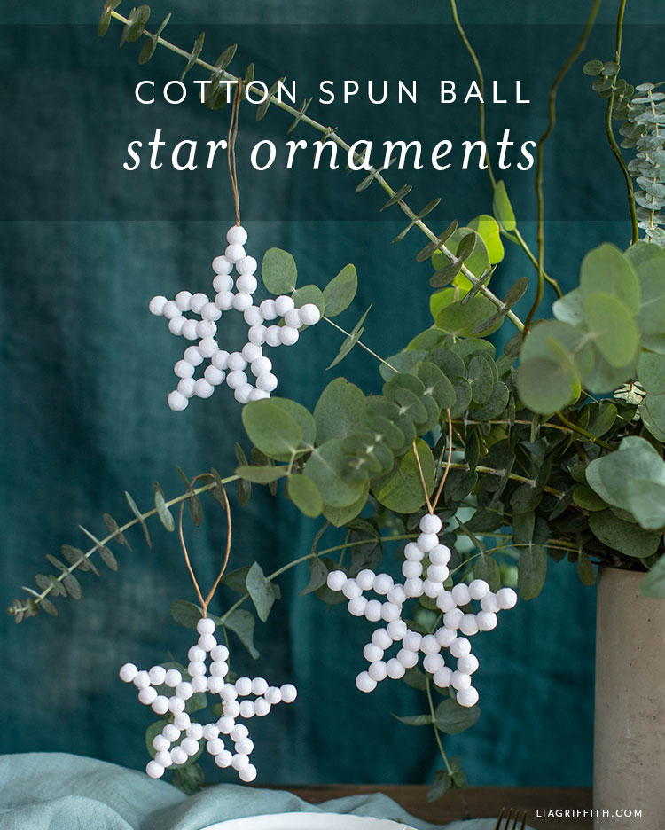 cotton spun ball star ornaments