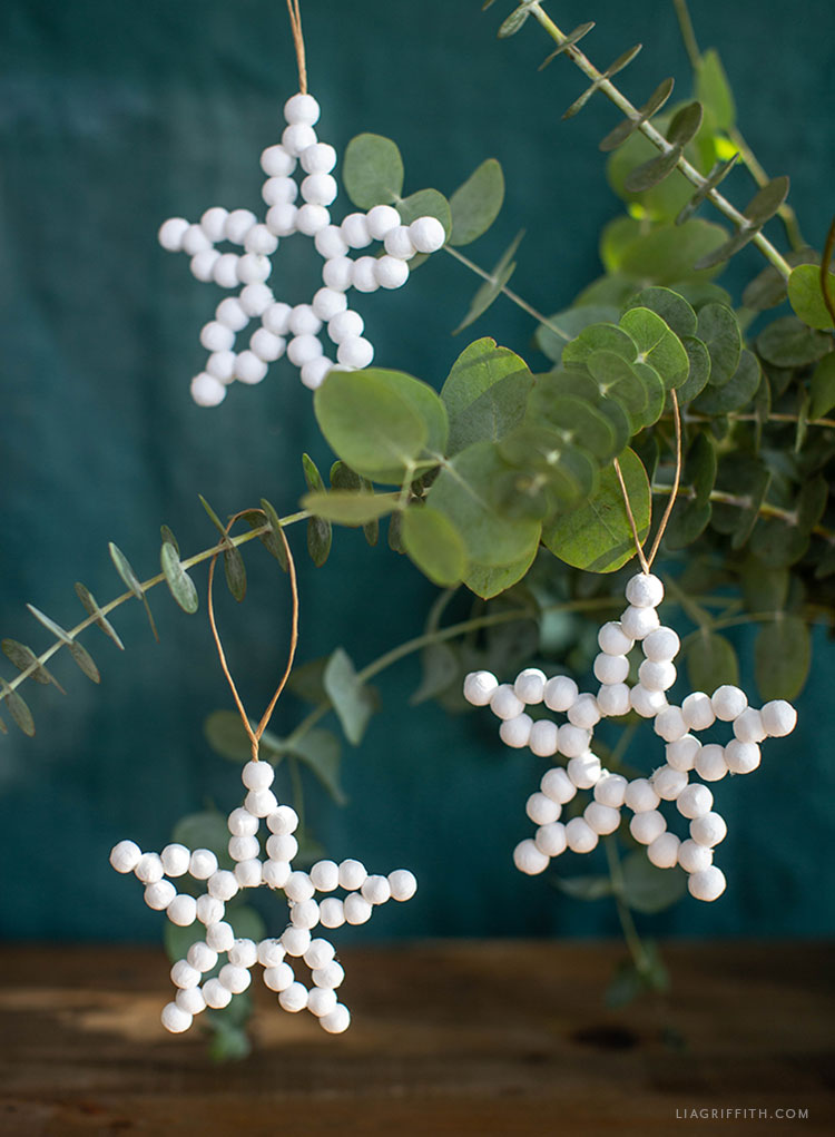 DIY cotton spun ball star ornaments