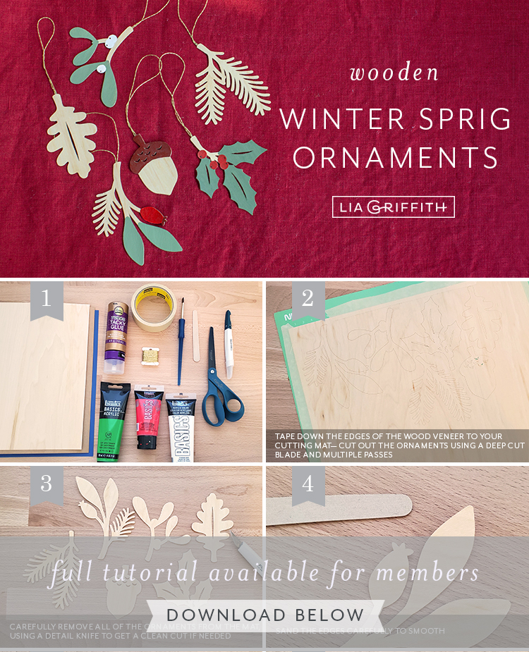 Photo tutorial for wooden winter sprig ornaments by Lia Griffith