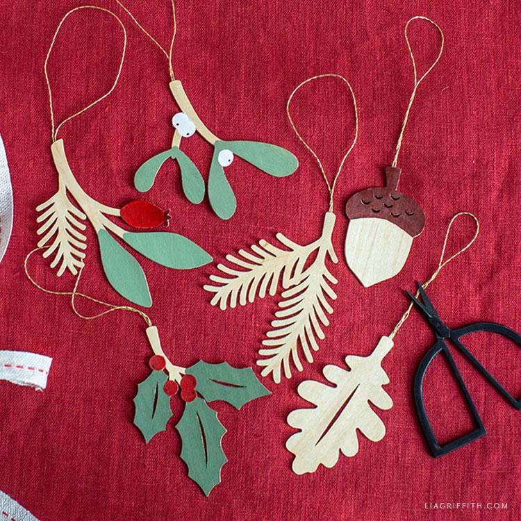 DIY wooden winter sprig ornaments