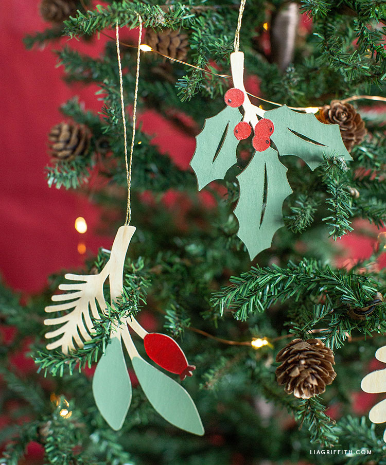 wooden winter sprig ornaments