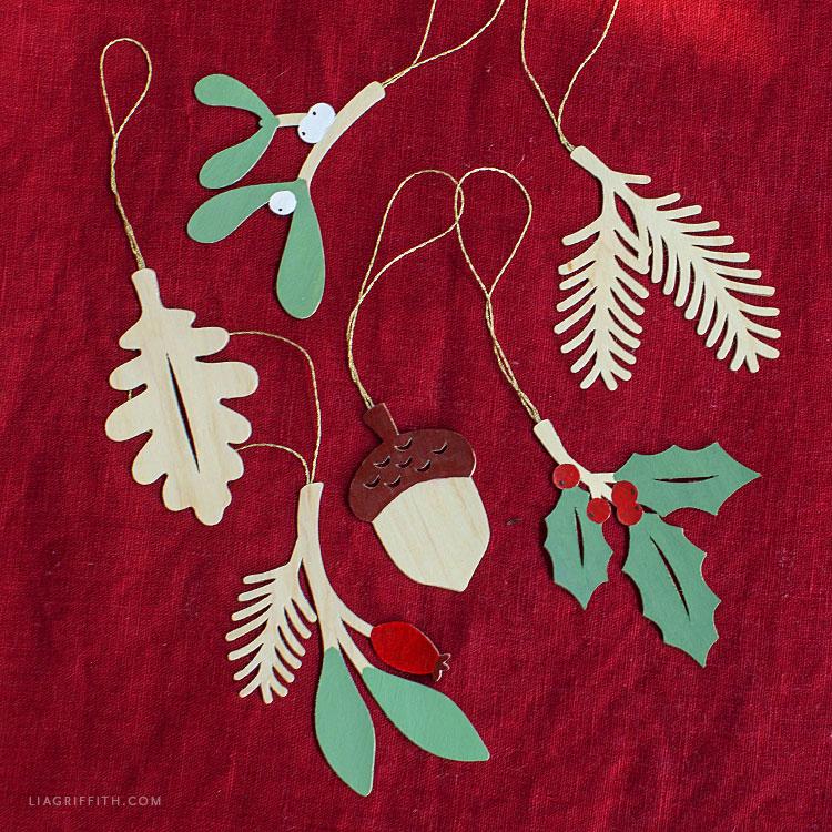 handmade wood veneer ornaments