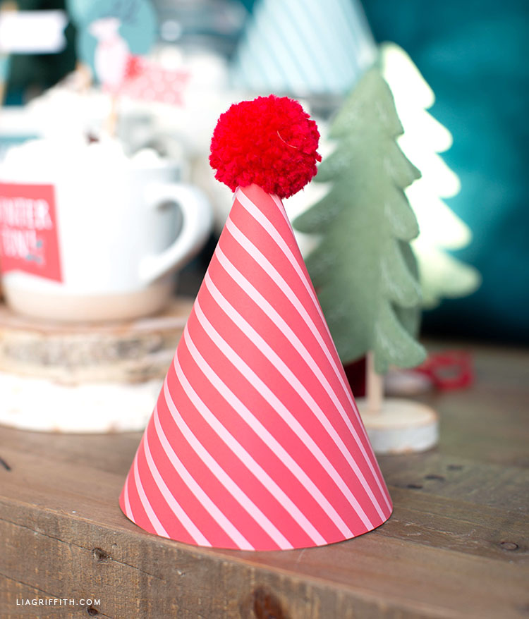 DIY paper party hat with pom pom