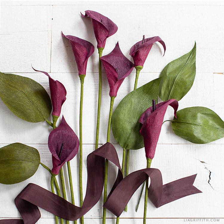 DIY crepe paper calla lilies