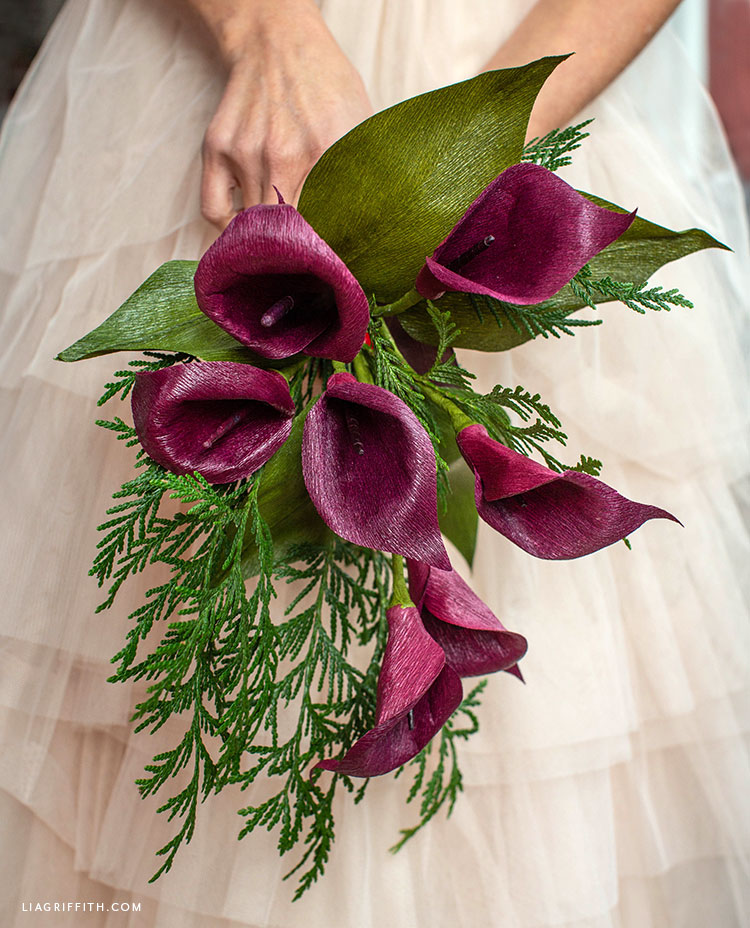plum crepe paper calla lily bouquet