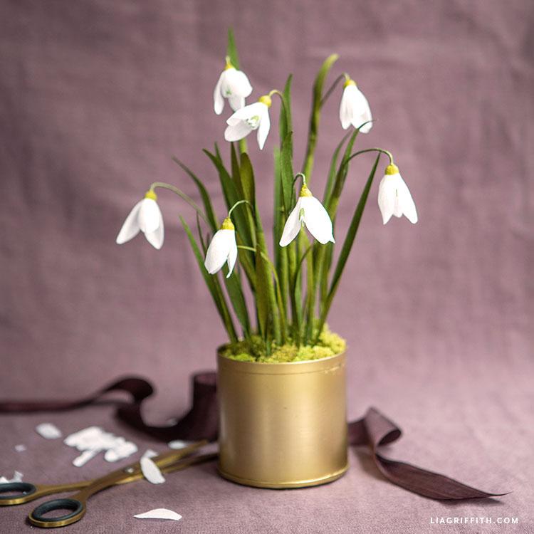 handmade crepe paper snowdrop flowers