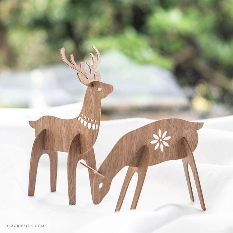 handmade wood deer
