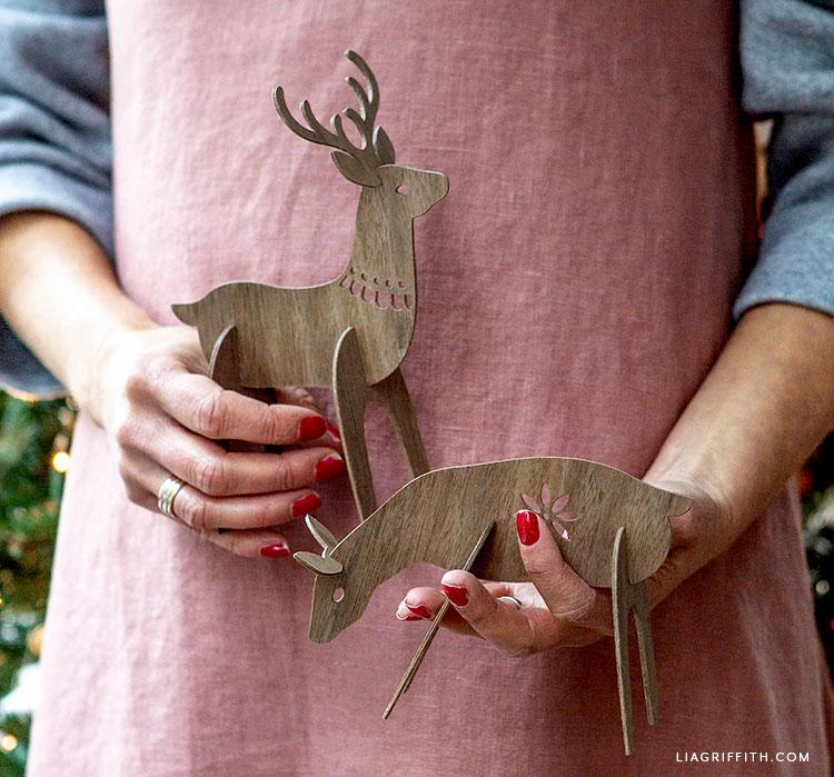 handmade wooden deer decor