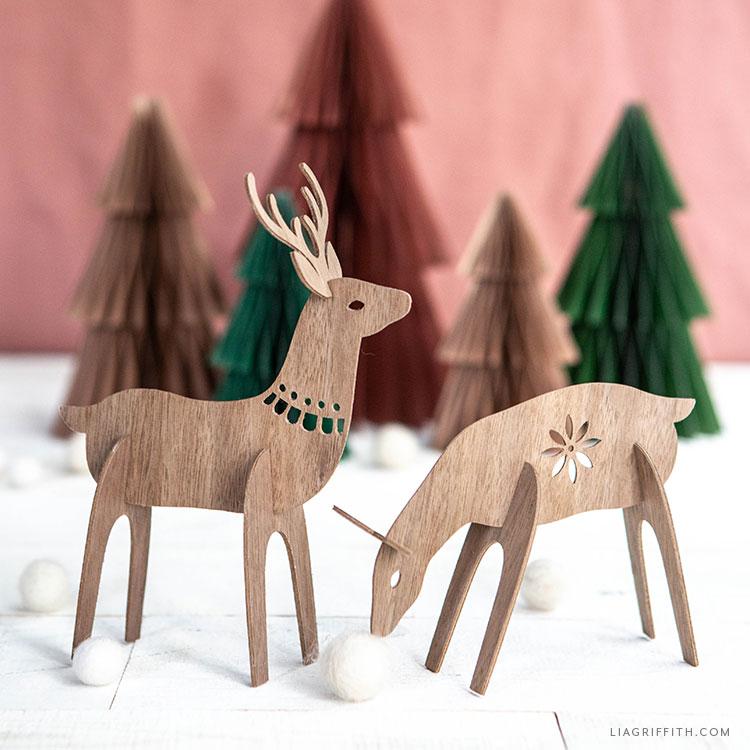 wood veneer deer and paper trees