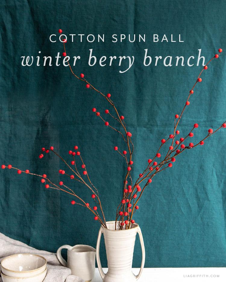 cotton spun ball winter berry branch