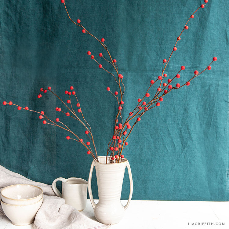 DIY holly berry branches