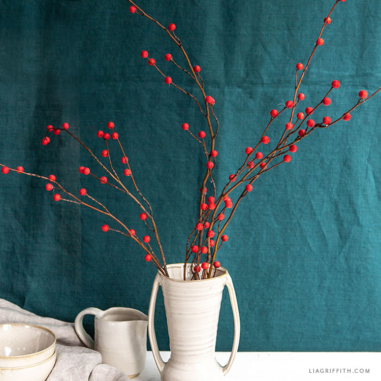 holly berry branches made with cotton spun paper balls