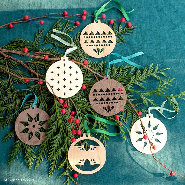 handmade Scandinavian wood ornaments