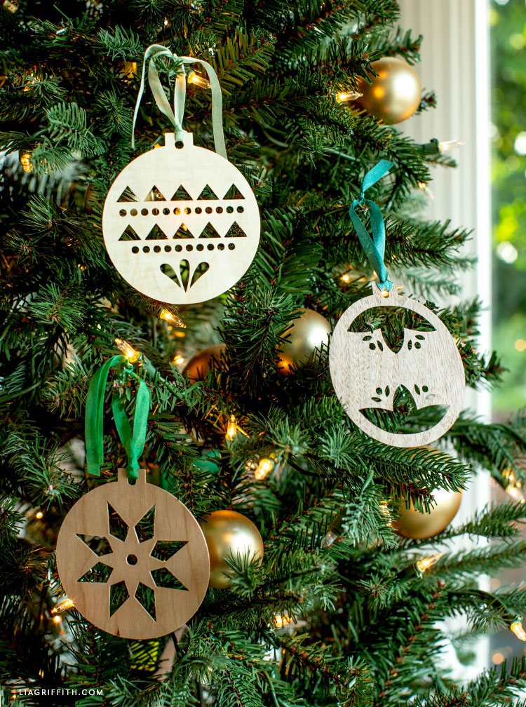 handmade Scandinavian wood ornaments for Christmas tree