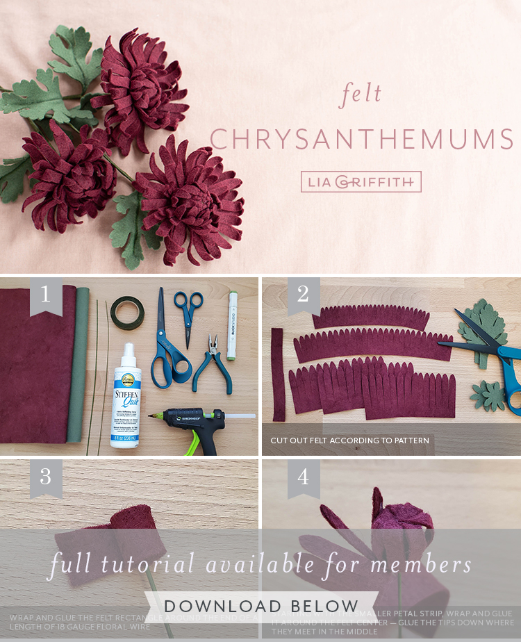Photo tutorial for felt chrysanthemums by Lia Griffith