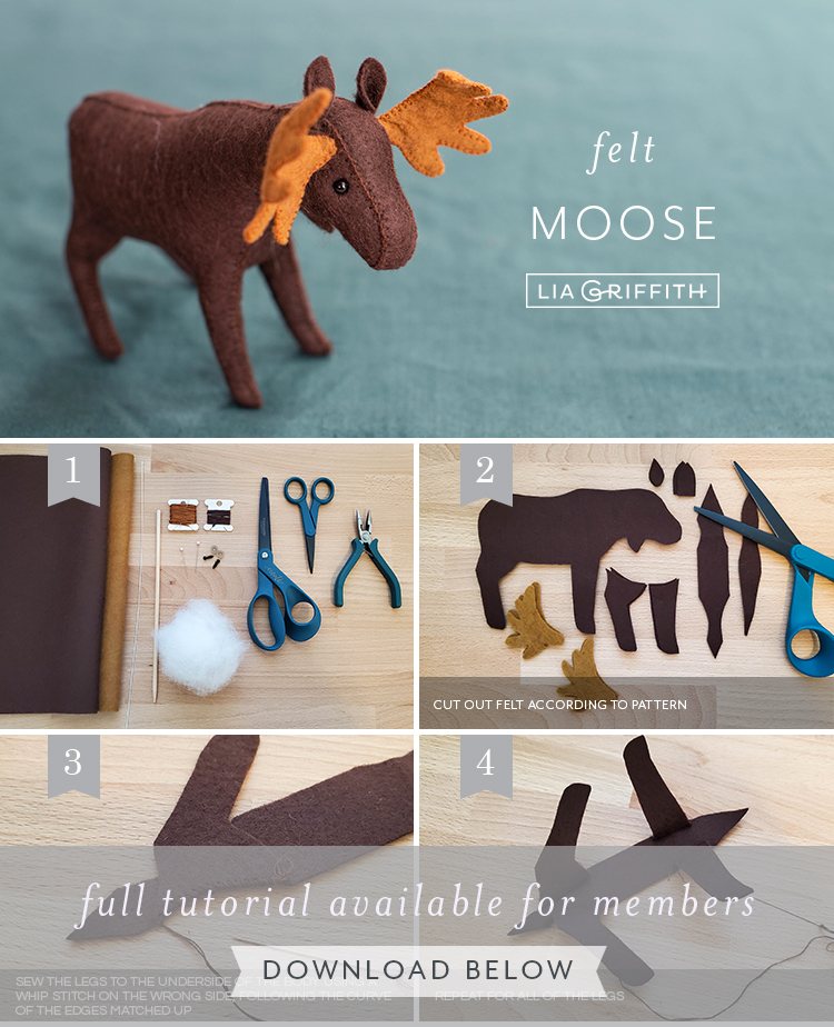Photo tutorial for felt moose by Lia Griffith