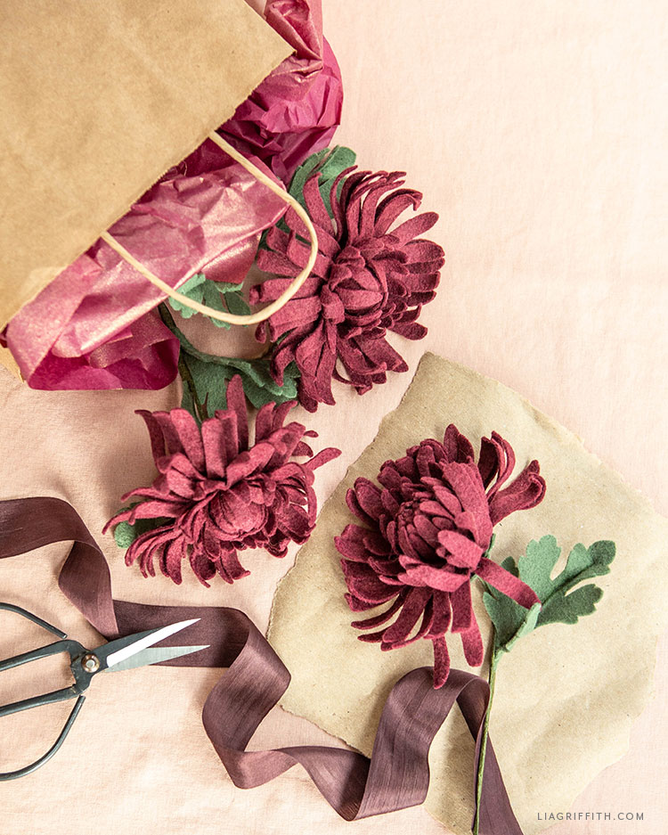 felt chrysanthemums