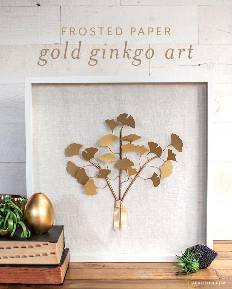 frosted paper gold ginkgo art