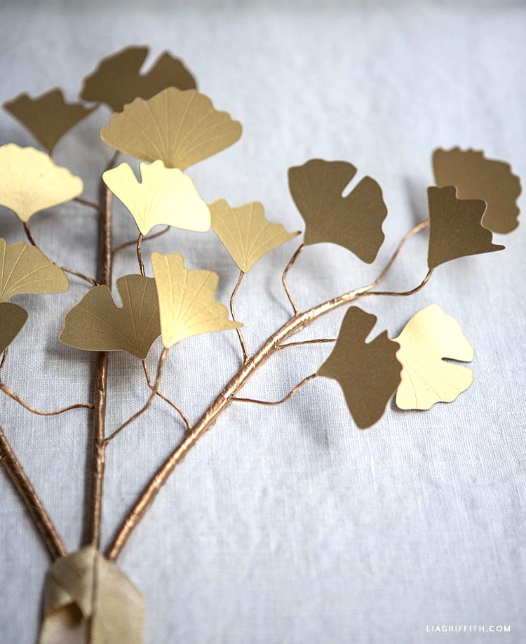 DIY frosted paper gold ginkgo branches