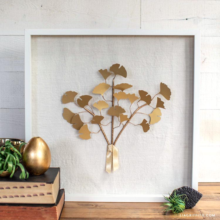 frosted paper gold ginkgo DIY art