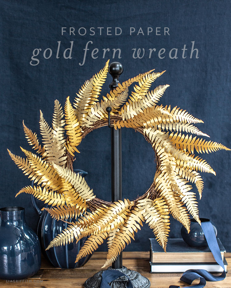 frosted paper gold fern wreath