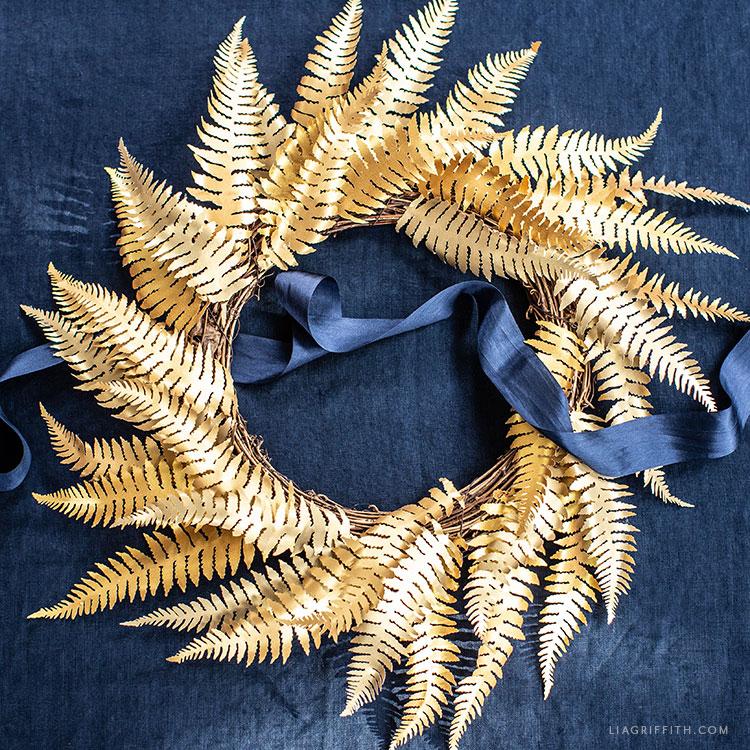 handmade gold paper fern wreath