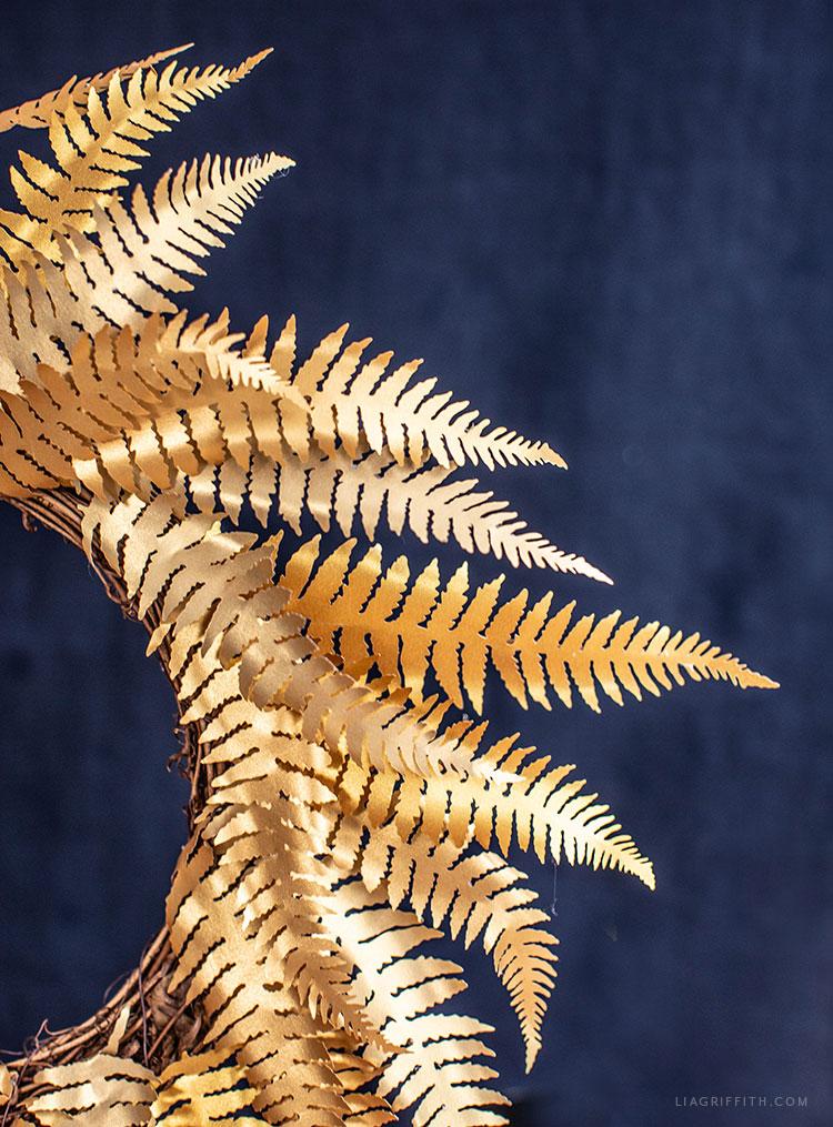 metallic gold paper fern wreath
