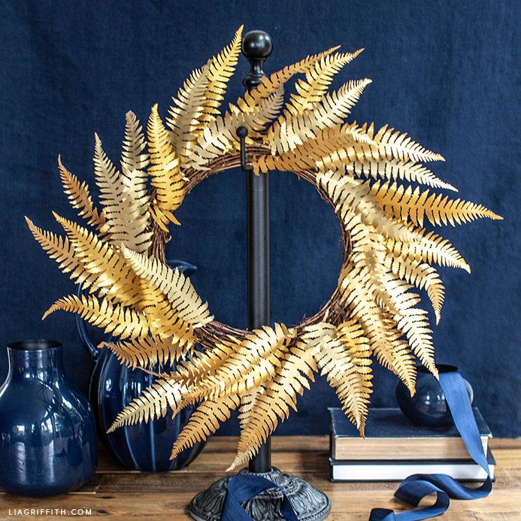 gold paper fern wreath