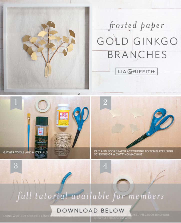 frosted paper gold ginkgo branches by Lia Griffith