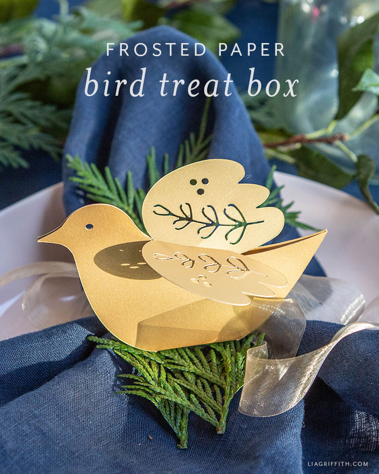 frosted paper bird treat box