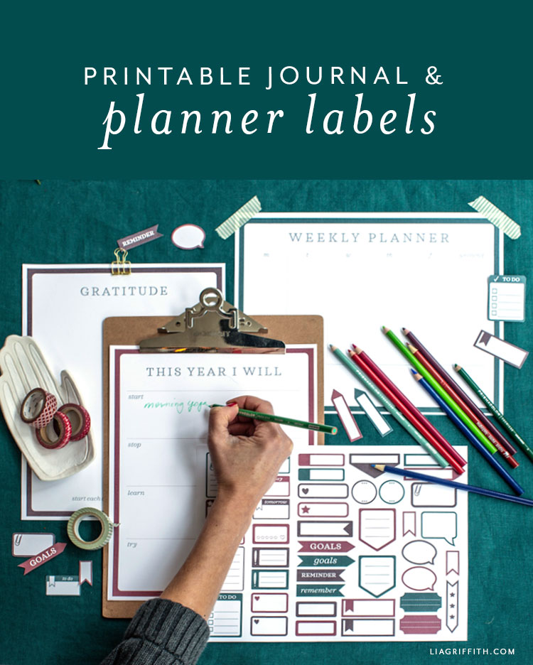 printable journal and planner labels