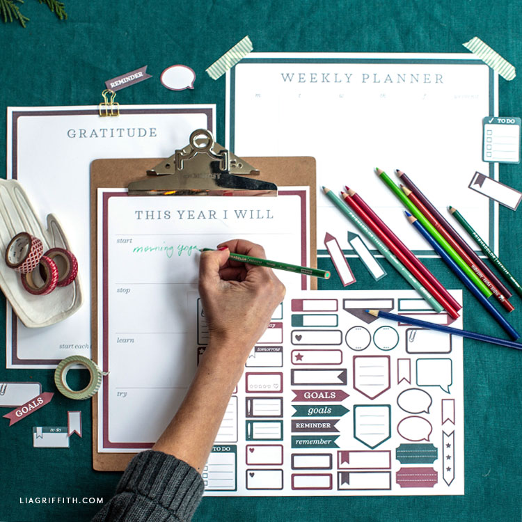 printable journal pages, goal tracker, and planner stickers