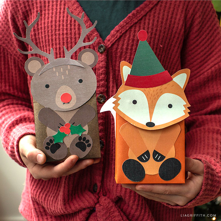 handmade woodland holiday treat bags