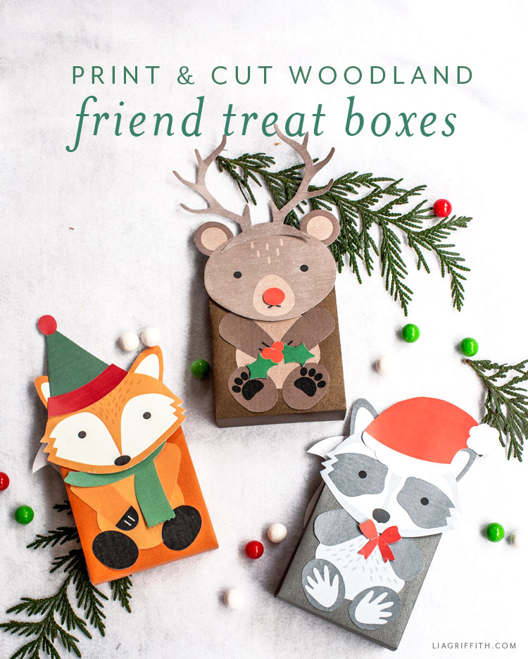 print and cut woodland friend treat boxes