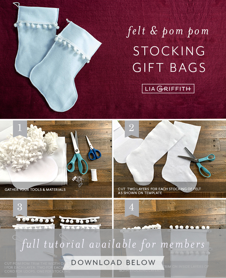 Photo tutorial for felt and pom pom stocking gift bags by Lia Griffith