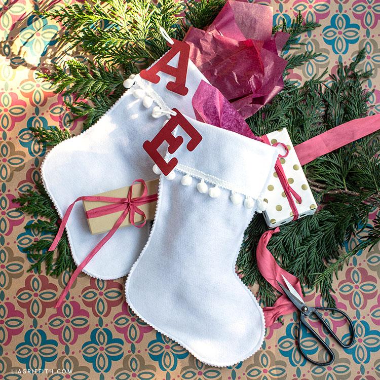 handmade felt stocking gift bags