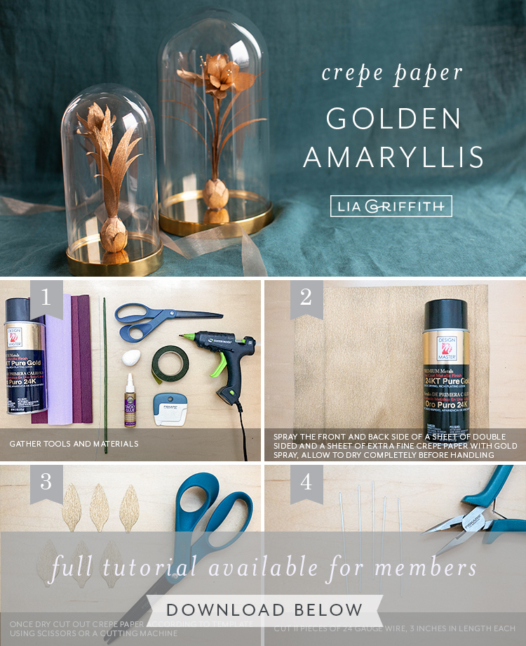 photo tutorial for crepe paper golden amaryllis by Lia Griffith