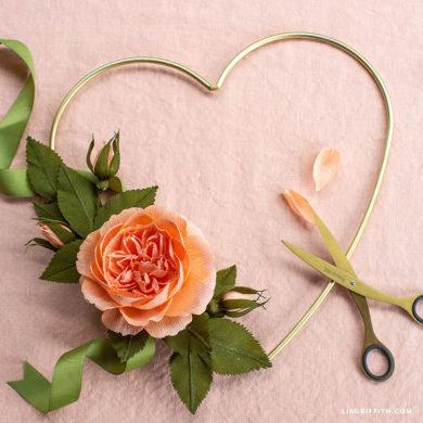 January Member Make: Crepe Paper Cabbage Rose Heart Wreath