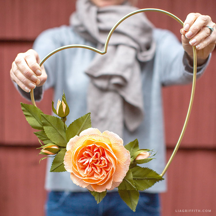 crepe paper cabbage rose heart wreath